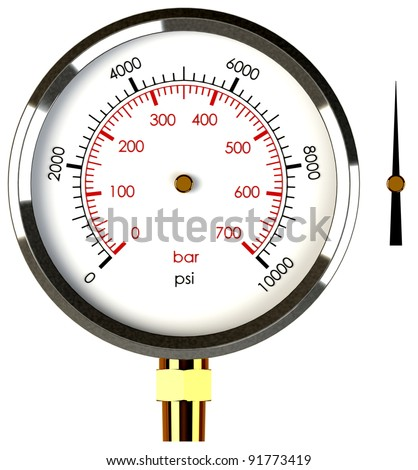A Pressure Gauge with a Separate Needle to Drop on the Gauge - stock photo