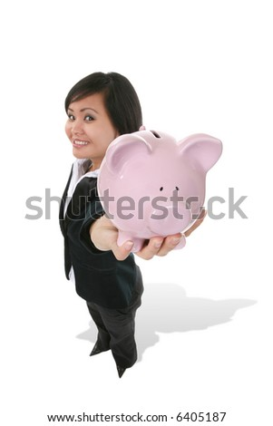 A pretty asian business woman holding a piggy bank