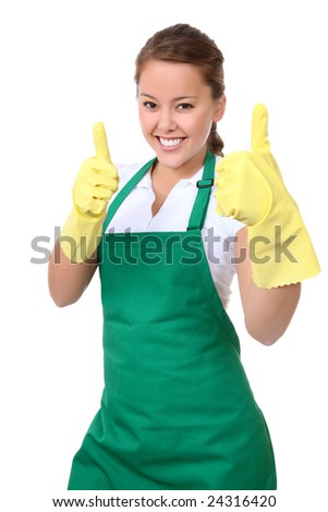 A pretty asian young woman maid celebrating a success - stock photo