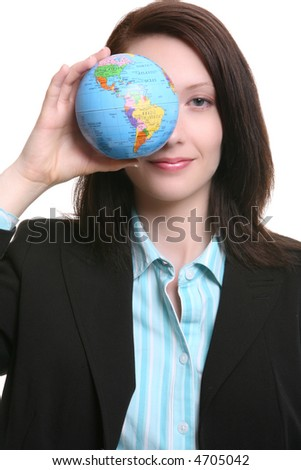A pretty business woman holding a small globe