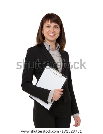 A pretty businesswoman carrying an empty clipboard
