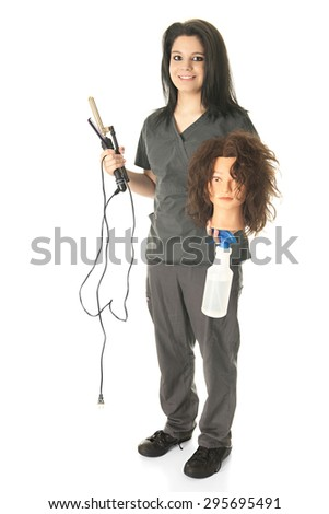 A pretty cosmetology student happily carrying her mannequin head and equipment to practice a new hair style.  On a white background. - stock photo