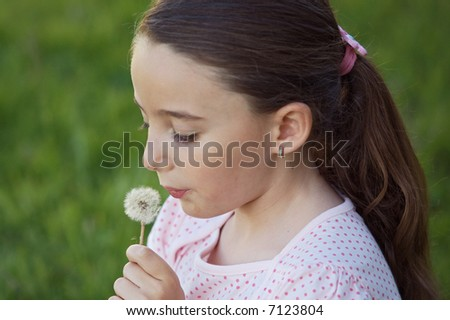 A pretty girl blowing dandelion in the grass - focus in the dandelion - - stock photo