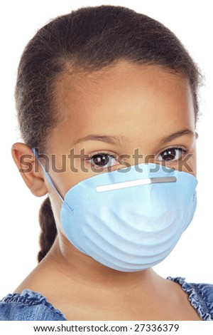A pretty girl with a blue mask isolated over white - stock photo