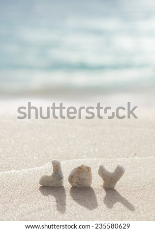 "a pretty photo of coral letters spelling out the word ""joy"" on a beach with the ocean in the background  - stock photo"