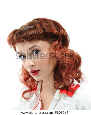 A pretty pin up girl with a questioning look on her face. - stock photo