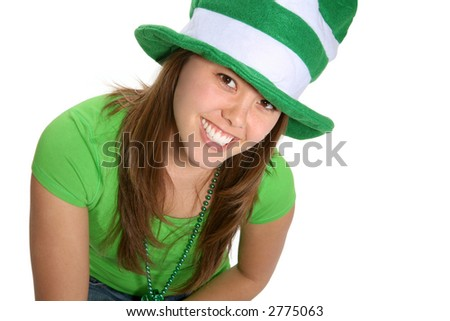 A pretty woman dressed in green for saint patricks day celebration - stock photo