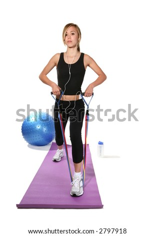 A pretty woman exercising and maintaining good fitness - stock photo