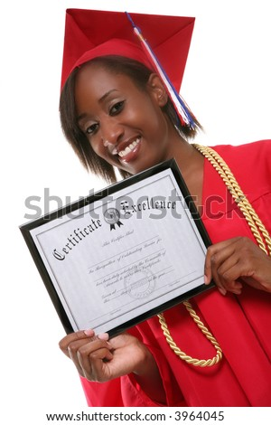 A pretty woman holding her certificate at graduation - stock photo
