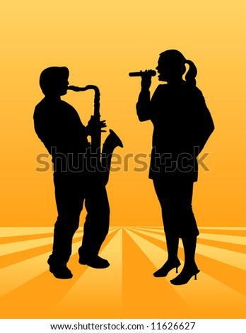 A pretty woman sings on an ethereal background along with a sax player - stock photo