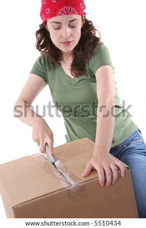 A pretty woman working in the shipping business - stock photo