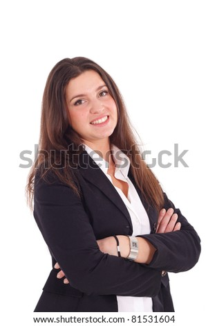 A pretty young businesswoman smiling. Isolated against a white background. - stock photo