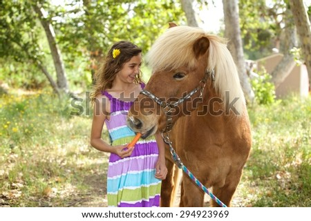 A pretty young girl is giving her Icelandic Pony a carrot on a summer day