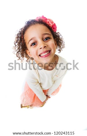 A pretty young girl looking up. - stock photo