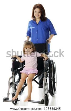 A pretty young hospital volunteer wheeling an adorable preschool patient in large wheelchair.  Focus on child.  On a white background.