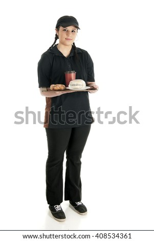 A pretty young waitress standing with full tray -- a wrapped breakfast sandwich, a twisty donut and a cup of coffee.  On a white background - stock photo