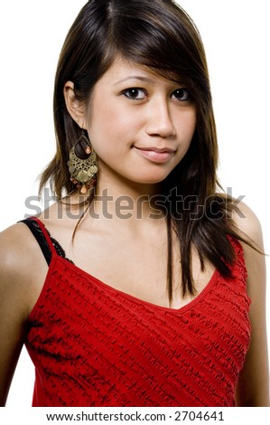 A pretty young woman in red top on white background