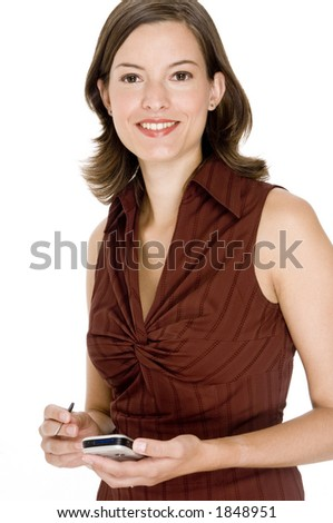 A pretty young woman with mobile computer on white background
