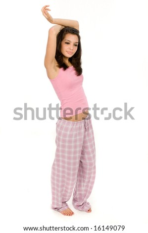 A pretty young women ready for bed - stock photo