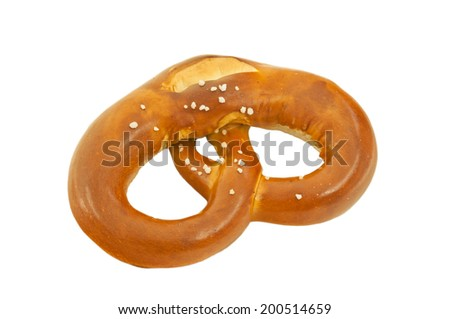 A pretzel isolated on a white background. - stock photo