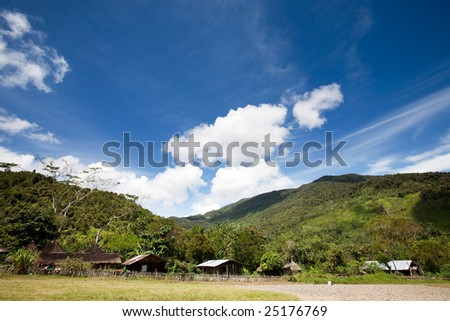 A primitive mountain village in Indonesia - stock photo