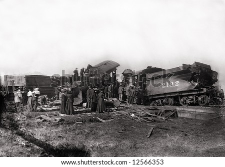 A print from a glass negative taken in an an old view camera about 1890. Train wreck where two trains collided. - stock photo