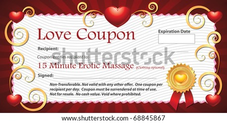 Printable Love Coupon Gift Fifteen Minute Stock Illustration ...
