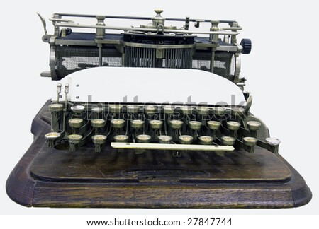 A printing press is a mechanical device for applying pressure to an inked surface - stock photo