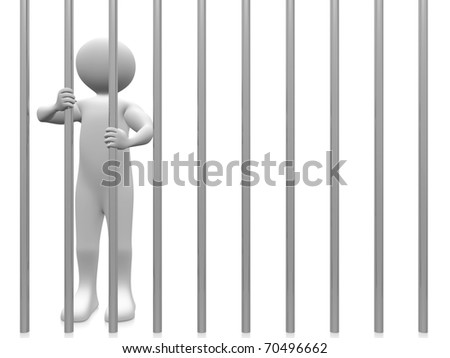 A prisoner in the jail. Conceptual Illustration - stock photo