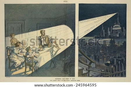 A Pro-Democratic 1912 Election year cartoon. It advocated tax reform through Tariff reduction claiming 'Republican Tariffs Responsible for the High Cost of Living'. May 22 1912. - stock photo