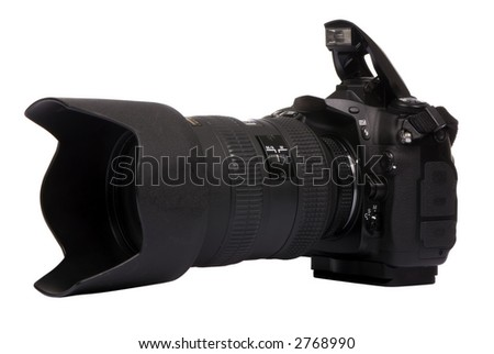 A professional DSLR camera ready for a picture. - stock photo
