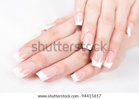 A professional French manicure - stock photo