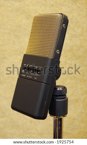 A professional gold microphone - stock photo