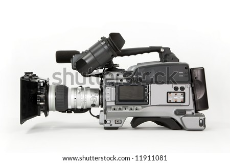 A professional high definition, tapeless broadcast camcorder. Shown with matte box and battery, white background. - stock photo