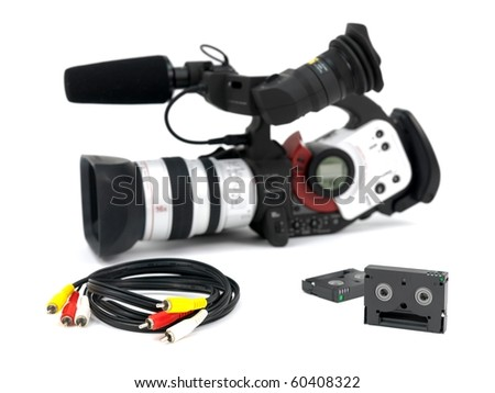 A Professional video camera isolated against a white background - stock photo