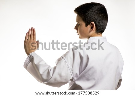 A profile of a boy in a karate fight stance.  - stock photo