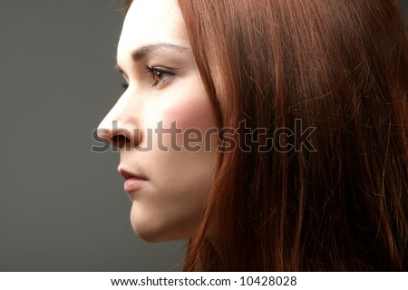 a profile of a girl - stock photo