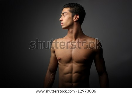 a profile of a man naked - stock photo