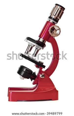 A profile shot of a red microscope on a white background
