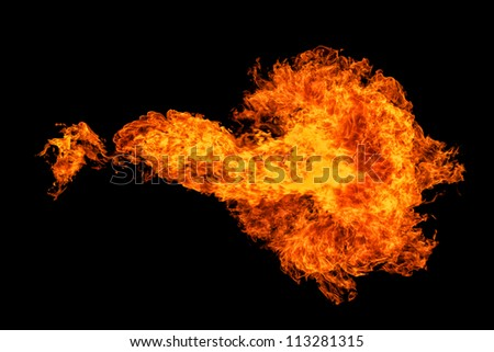 A propan flame shot in the night. - stock photo