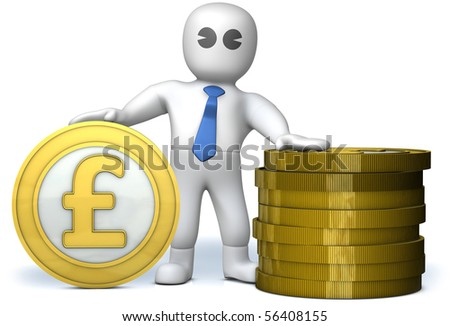 A proud rich man with golden pounds - stock photo