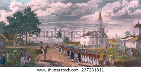 A Provisional Battalion lined up for review to join regular troop in the suppression of the Demerara Slave Revolt in the colony of British Guiana in August-September 1823.