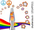 A psychedelic 60's 70's Hippie Kit with red orange lava lamp & retro flower power rainbow elements. Includes 4 clipping paths: Lava lamp; Peace Symbols; Flowers; Rainbow. - stock photo