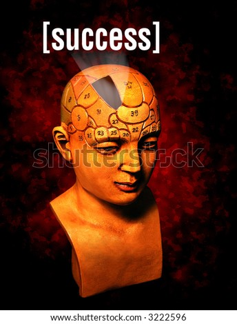 A psychology model highlighting the section of the brain that determines success - stock photo