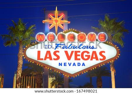 a public landmark sign of Las Vegas says welcome to fabulous Las Vegas  - stock photo