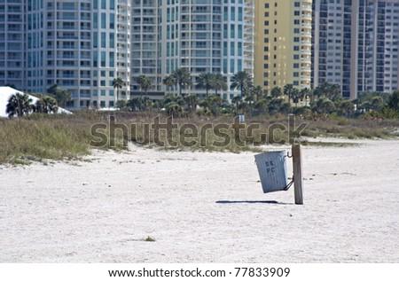 A public waste basket on the beach. Upham Beach, FL. - stock photo