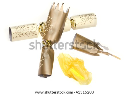 A pulled christmas cracker with the hat - stock photo