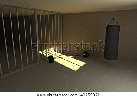 a punching bag and barbell in prison - stock photo