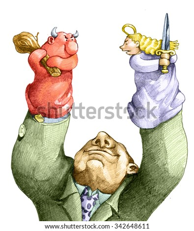 a puppeteer staged a duel between an angel and a devil - stock photo