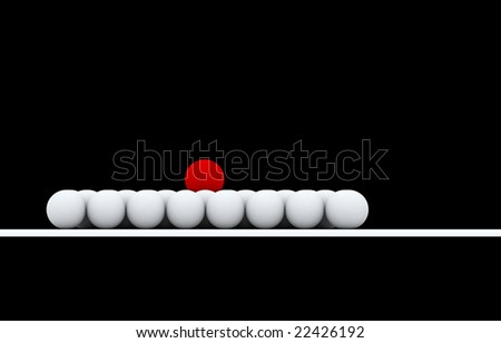 a pure red ball placed observably in a group of white balls,isolated whit black background.